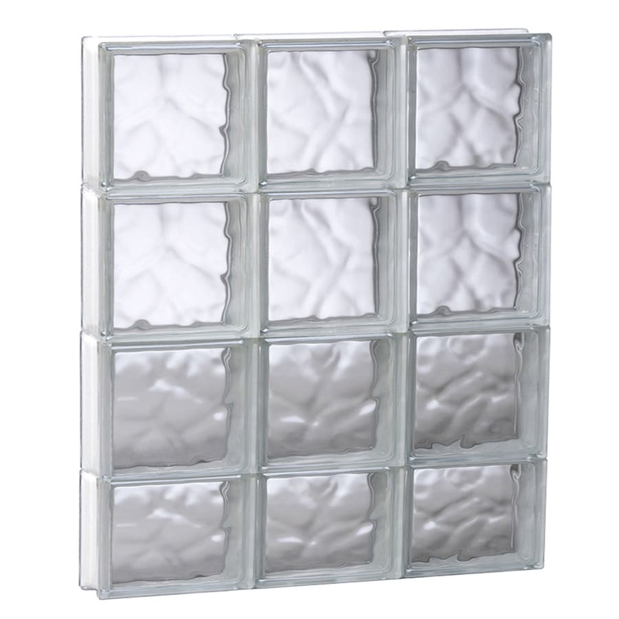 REDI2SET Wavy Glass Pattern Frameless Replacement Glass Block Window (Rough Opening: 23.7500-in x 29.5000-in; Actual: 23.2500-in x 29-in)