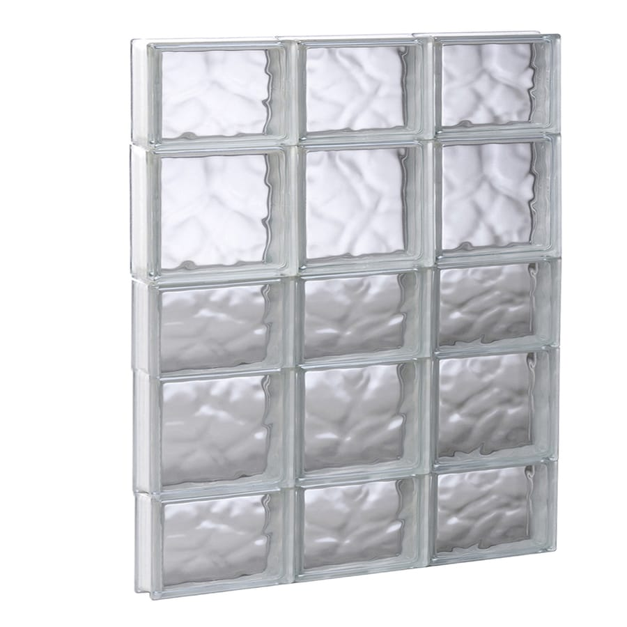 REDI2SET Wavy Pattern Frameless Replacement Glass Block Window (Rough Opening: 23.75-in x 33.25-in; Actual: 23.25-in x 32.75-in)