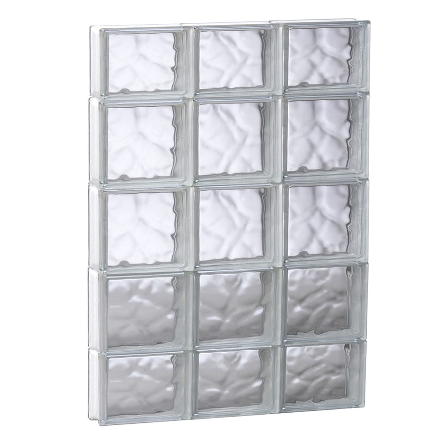 REDI2SET Wavy Glass Pattern Frameless Replacement Glass Block Window (Rough Opening: 23.75-in x 35.25-in; Actual: 23.25-in x 34.75-in)