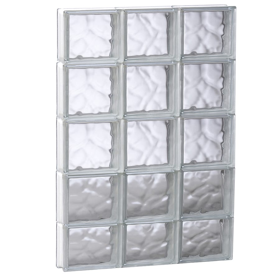 REDI2SET Wavy Pattern Frameless Replacement Glass Block Window (Rough Opening: 23.75-in x 37.25-in; Actual: 23.25-in x 36.75-in)