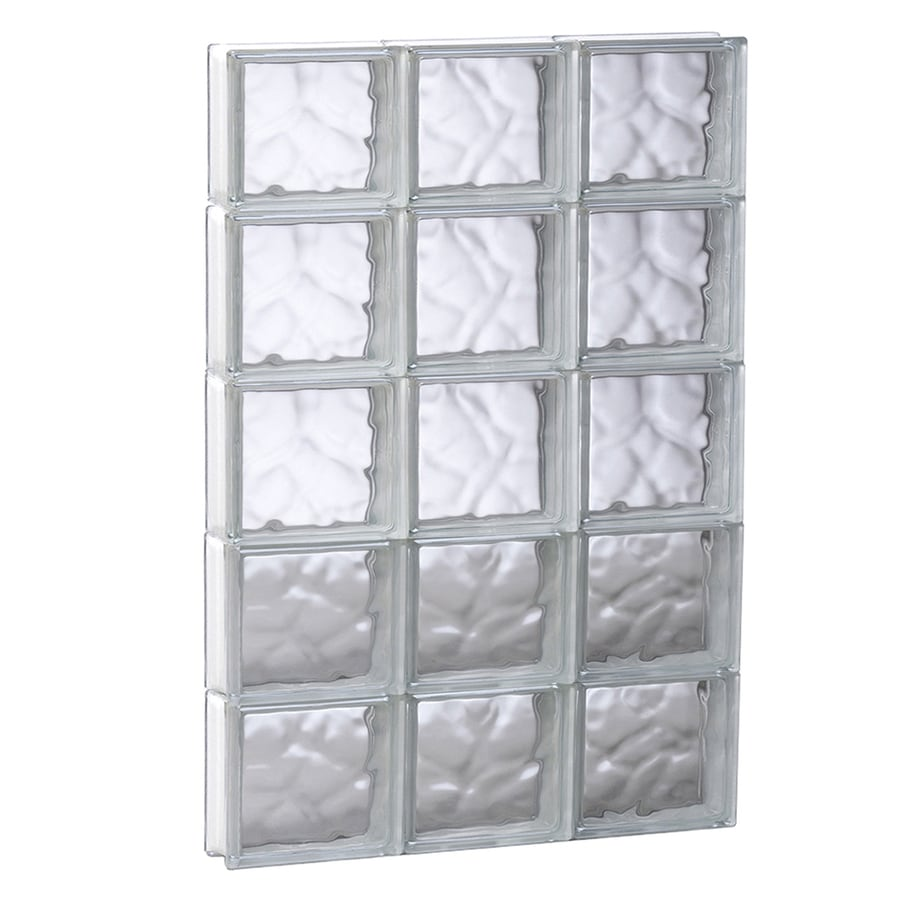 REDI2SET Wavy Glass Pattern Frameless Replacement Glass Block Window (Rough Opening: 23.75-in x 39.25-in; Actual: 23.25-in x 38.75-in)