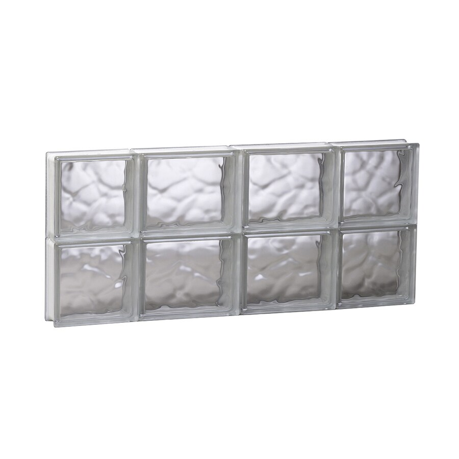 REDI2SET Wavy Glass Pattern Frameless Replacement Glass Block Window (Rough Opening: 27.5-in x 12-in; Actual: 27-in x 11.5-in)