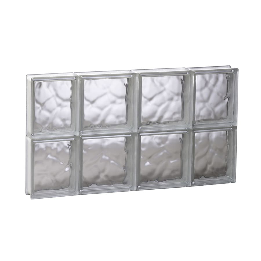 REDI2SET Wavy Glass Pattern Frameless Replacement Glass Block Window (Rough Opening: 27.5000-in x 16-in; Actual: 27-in x 15.5000-in)