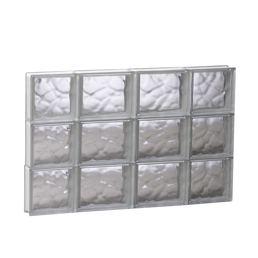 REDI2SET Wavy Glass Pattern Frameless Replacement Glass Block Window (Rough Opening: 27.5-in x 17.75-in; Actual: 27-in x 17.25-in)