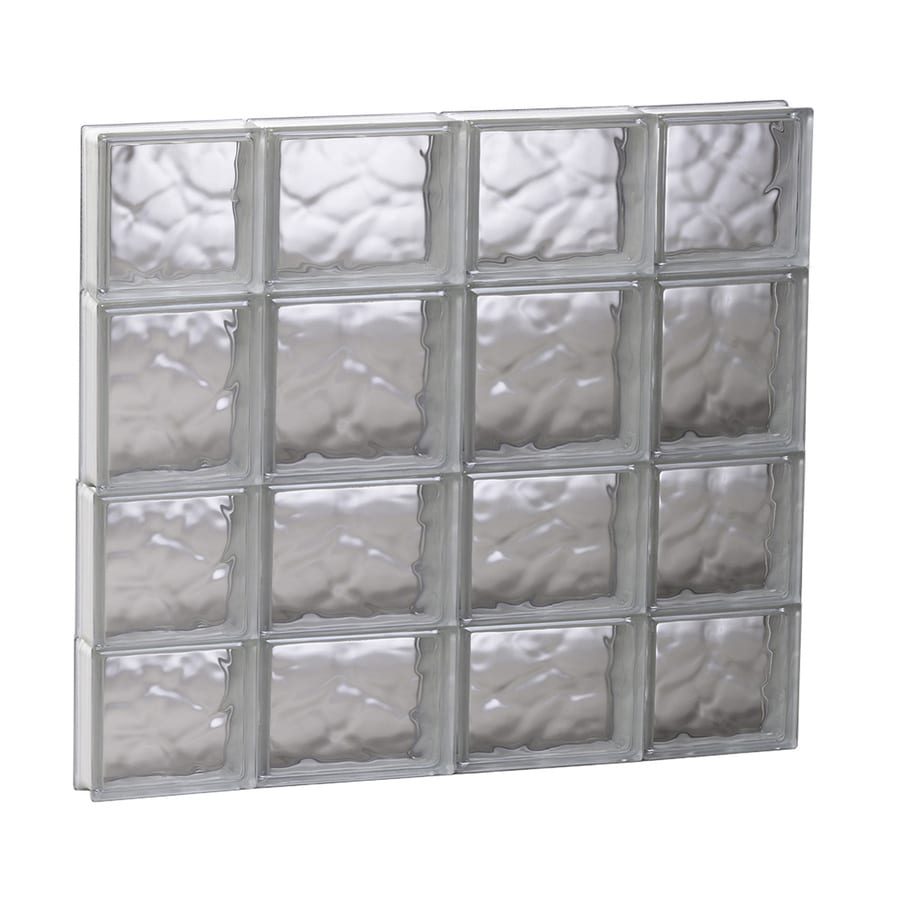 REDI2SET Wavy Glass Pattern Frameless Replacement Glass Block Window (Rough Opening: 27.5-in x 25.5-in; Actual: 27-in x 25-in)