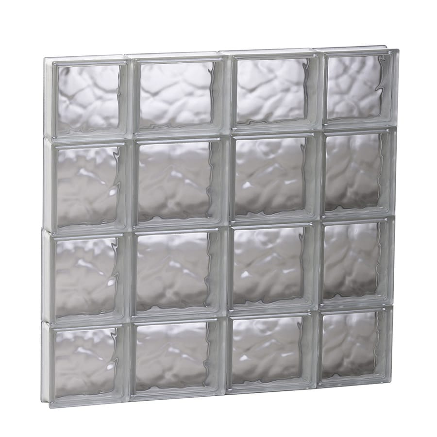 REDI2SET Wavy Glass Pattern Frameless Replacement Glass Block Window (Rough Opening: 27.5-in x 27.5-in; Actual: 27-in x 27-in)