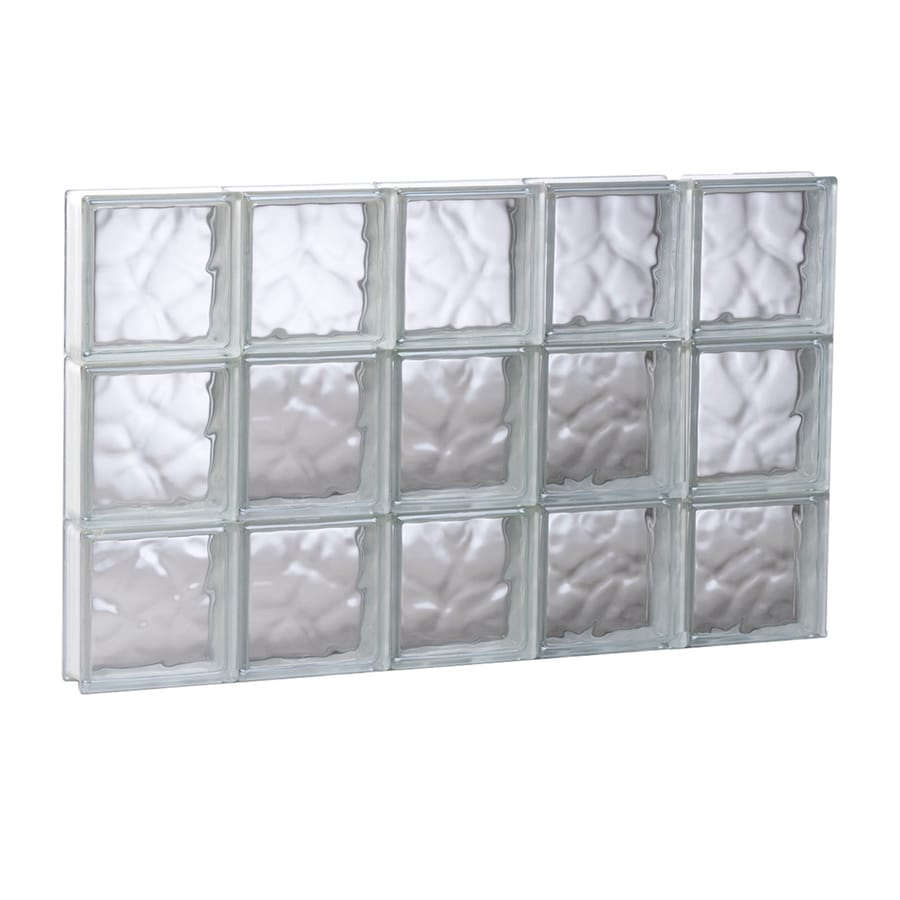 REDI2SET Wavy Glass Pattern Frameless Replacement Glass Block Window (Rough Opening: 29.25-in x 17.75-in; Actual: 28.75-in x 17.25-in)