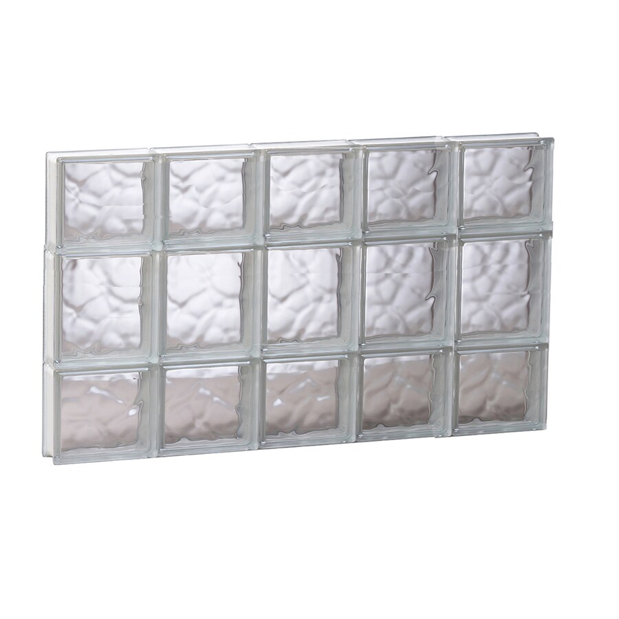REDI2SET Wavy Glass Pattern Frameless Replacement Glass Block Window (Rough Opening: 29.25-in x 19.75-in; Actual: 28.75-in x 19.25-in)