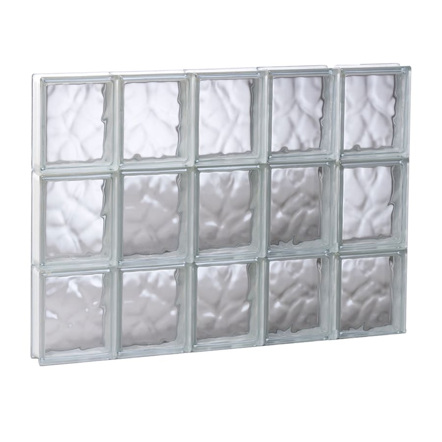 REDI2SET Wavy Glass Pattern Frameless Replacement Glass Block Window (Rough Opening: 29.2500-in x 23.7500-in; Actual: 28.7500-in x 23.2500-in)
