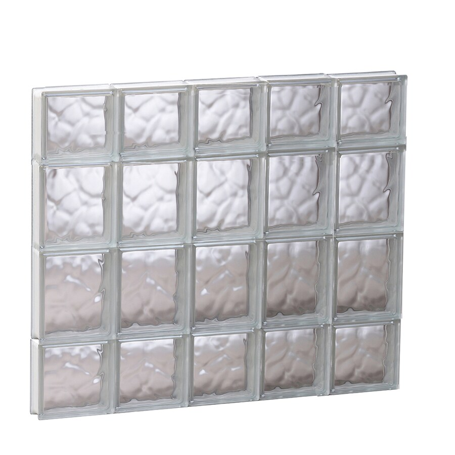 REDI2SET Wavy Glass Pattern Frameless Replacement Glass Block Window (Rough Opening: 29.25-in x 27.5-in; Actual: 28.75-in x 27-in)