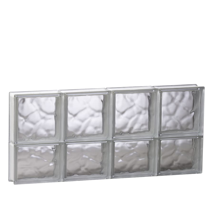 REDI2SET Wavy Glass Pattern Frameless Replacement Glass Block Window (Rough Opening: 31.5-in x 14-in; Actual: 31-in x 13.5-in)