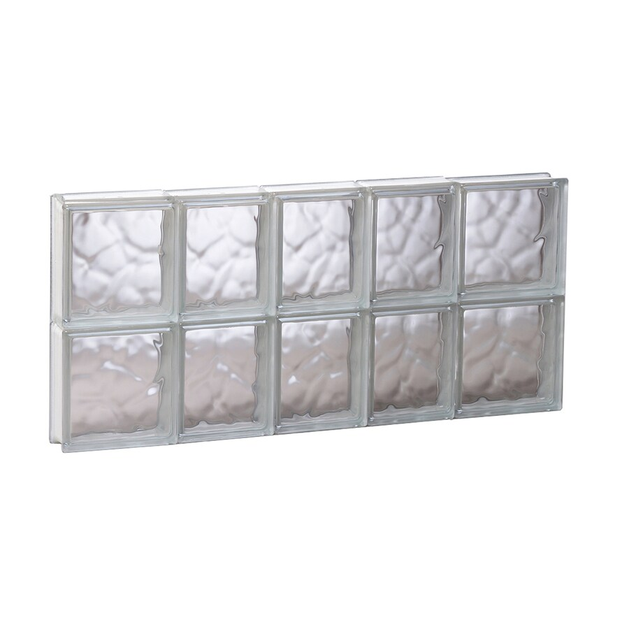 REDI2SET Wavy Glass Pattern Frameless Replacement Glass Block Window (Rough Opening: 33.25-in x 16-in; Actual: 32.75-in x 15.5-in)