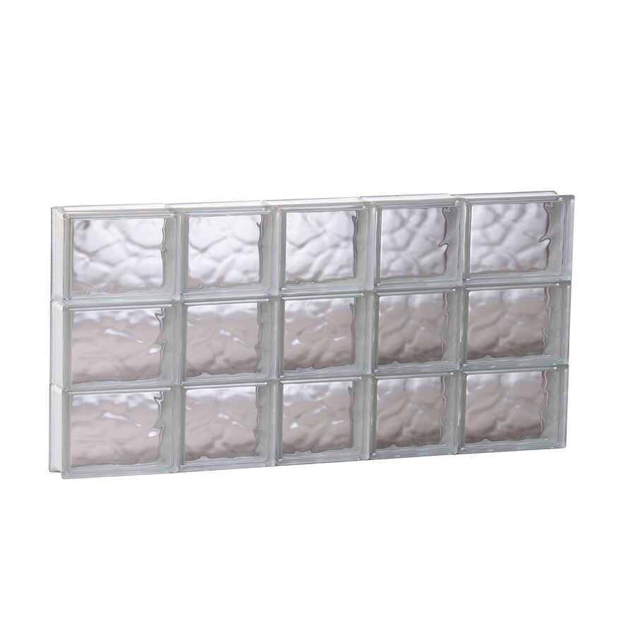 REDI2SET Wavy Glass Pattern Frameless Replacement Glass Block Window (Rough Opening: 33.25-in x 17.75-in; Actual: 32.75-in x 17.25-in)