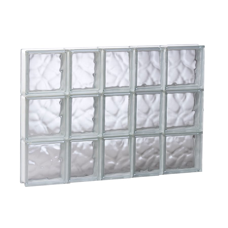 REDI2SET Wavy Glass Pattern Frameless Replacement Glass Block Window (Rough Opening: 33.25-in x 23.75-in; Actual: 32.75-in x 23.25-in)