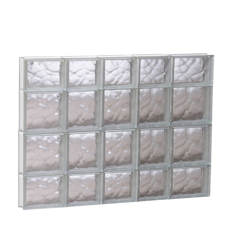 REDI2SET Wavy Glass Pattern Frameless Replacement Glass Block Window (Rough Opening: 33.25-in x 27.5-in; Actual: 32.75-in x 27-in)