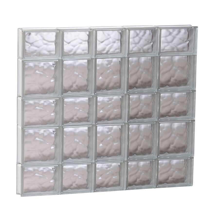 REDI2SET Wavy Glass Pattern Frameless Replacement Glass Block Window (Rough Opening: 33.25-in x 33.25-in; Actual: 32.75-in x 32.75-in)