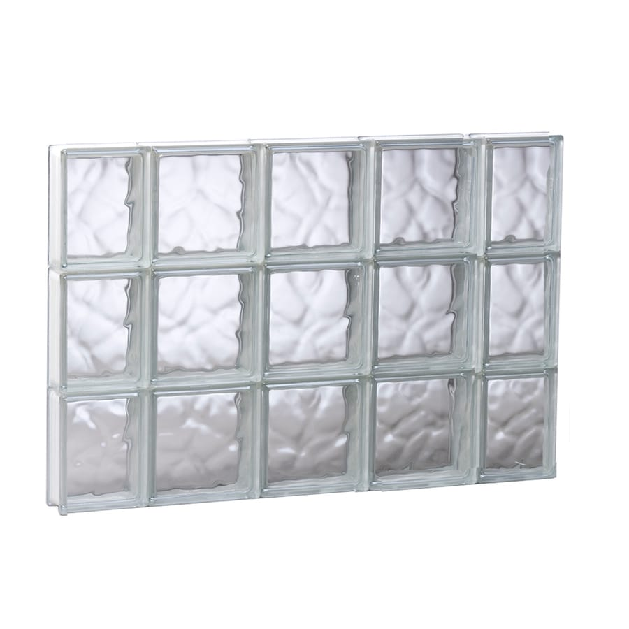REDI2SET Wavy Glass Pattern Frameless Replacement Glass Block Window (Rough Opening: 35.25-in x 23.75-in; Actual: 34.75-in x 23.25-in)