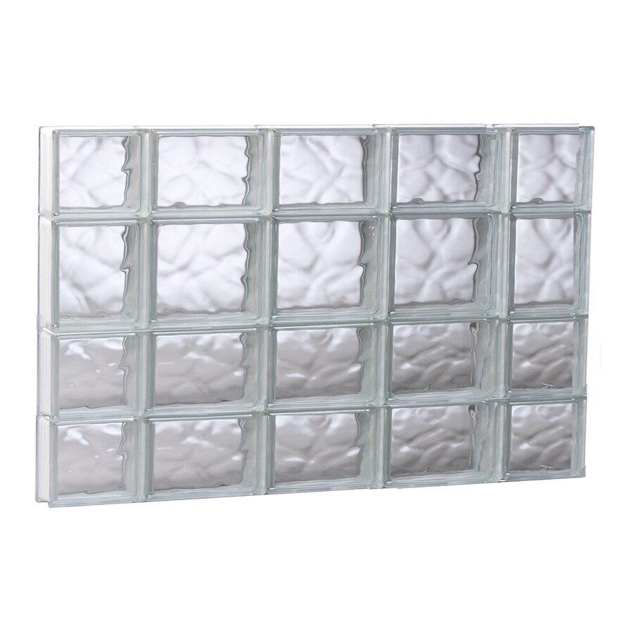 REDI2SET Wavy Glass Pattern Frameless Replacement Glass Block Window (Rough Opening: 35.25-in x 25.5-in; Actual: 34.75-in x 25-in)