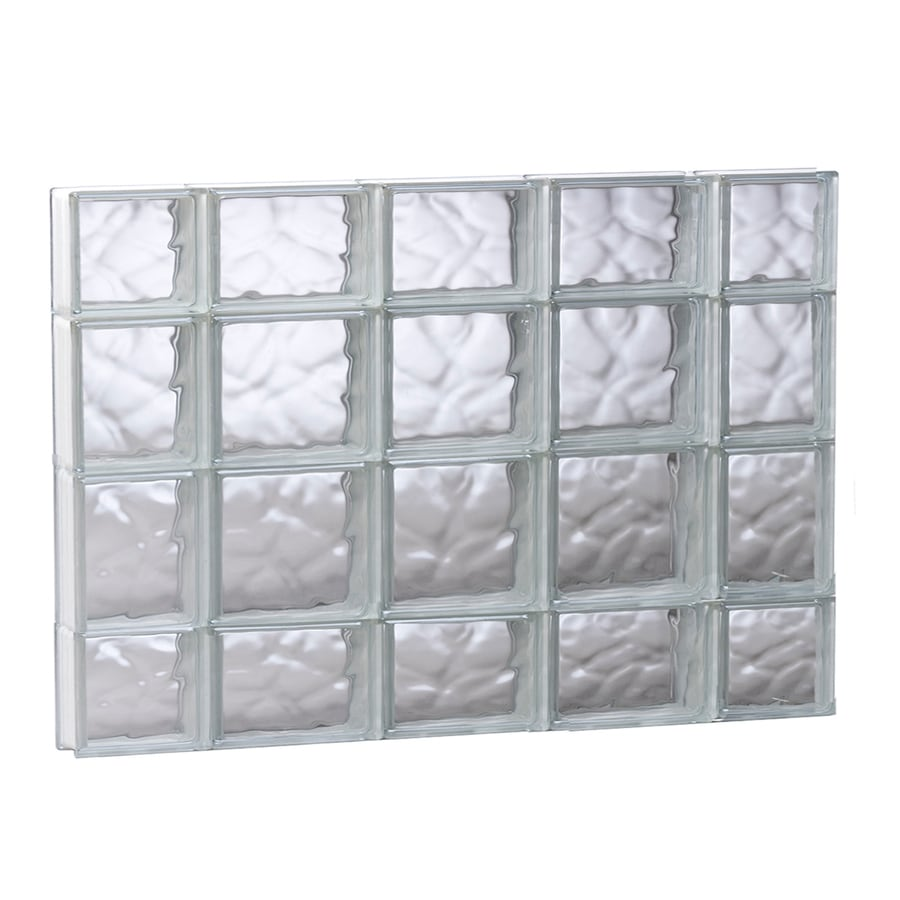 REDI2SET Wavy Glass Pattern Frameless Replacement Glass Block Window (Rough Opening: 35.25-in x 27.5-in; Actual: 34.75-in x 27-in)
