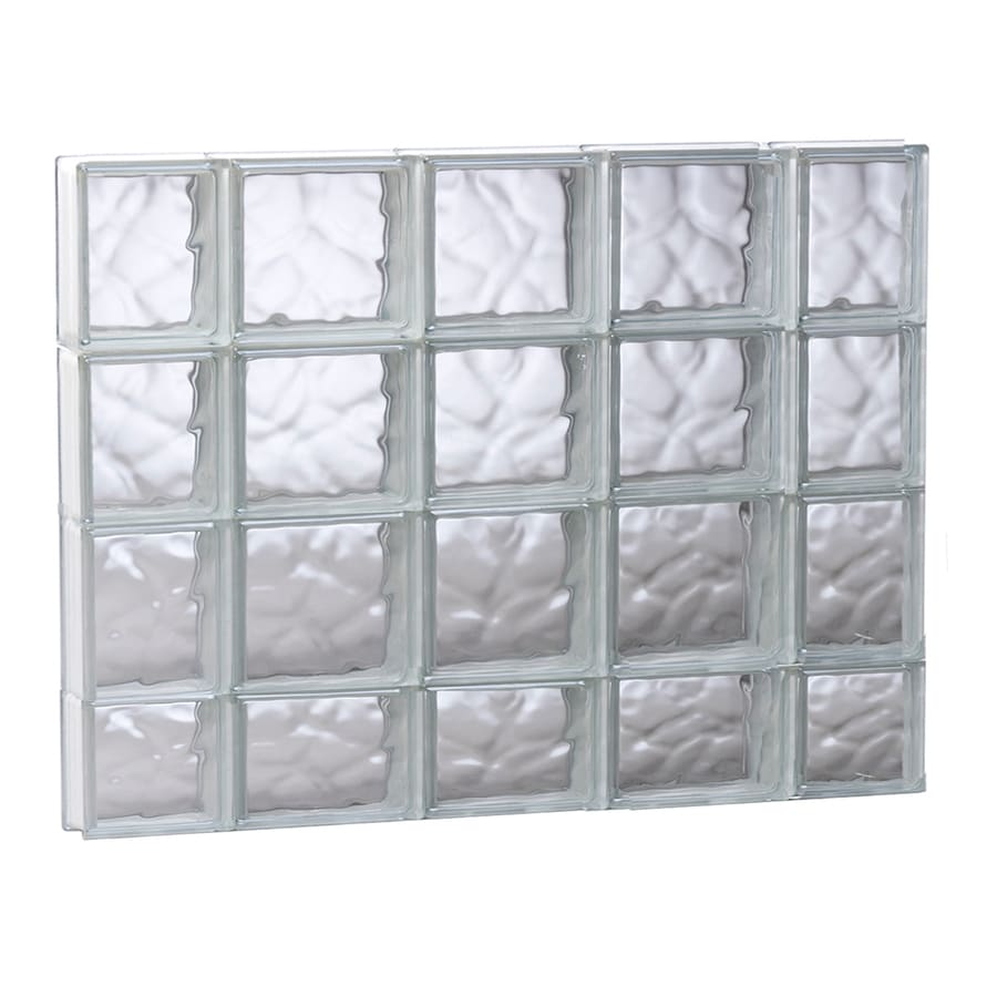 REDI2SET Wavy Glass Pattern Frameless Replacement Glass Block Window (Rough Opening: 35.25-in x 29.5-in; Actual: 34.75-in x 29-in)