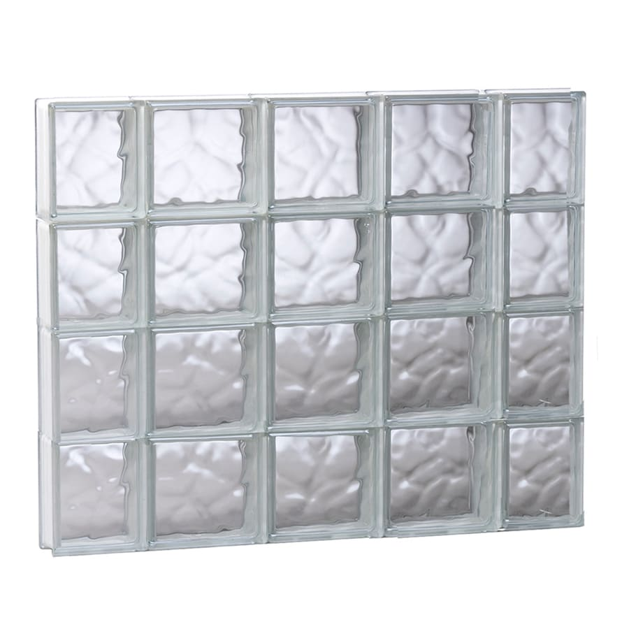 REDI2SET Wavy Glass Pattern Frameless Replacement Glass Block Window (Rough Opening: 35.25-in x 31.5-in; Actual: 34.75-in x 31-in)