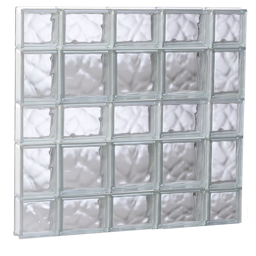 REDI2SET Wavy Glass Pattern Frameless Replacement Glass Block Window (Rough Opening: 35.25-in x 33.25-in; Actual: 34.75-in x 32.75-in)