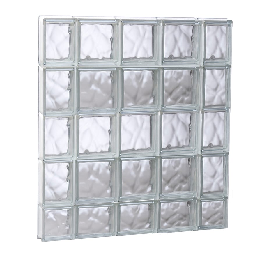 REDI2SET Wavy Pattern Frameless Replacement Glass Block Window (Rough Opening: 35.25-in x 37.25-in; Actual: 34.75-in x 36.75-in)
