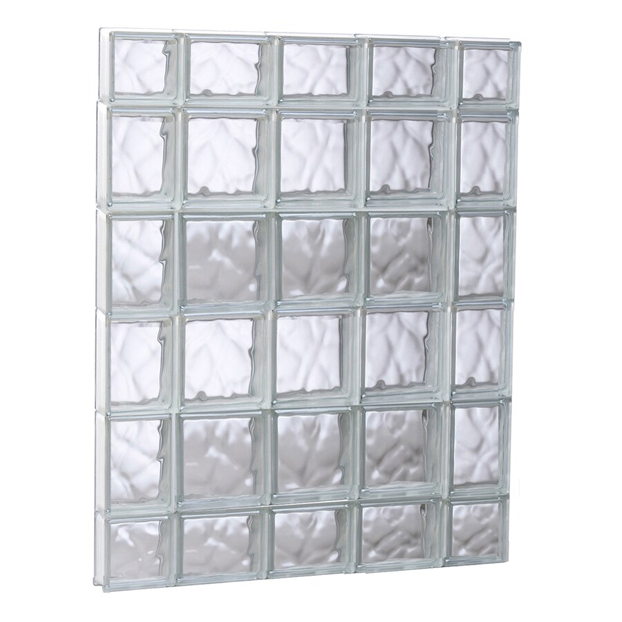 REDI2SET Wavy Glass Pattern Frameless Replacement Glass Block Window (Rough Opening: 35.2500-in x 43-in; Actual: 34.7500-in x 42.5000-in)