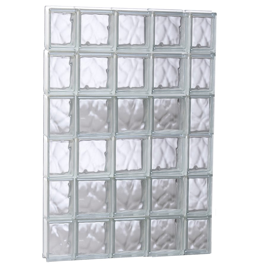 REDI2SET Wavy Glass Pattern Frameless Replacement Glass Block Window (Rough Opening: 35.2500-in x 47-in; Actual: 34.7500-in x 46.5000-in)