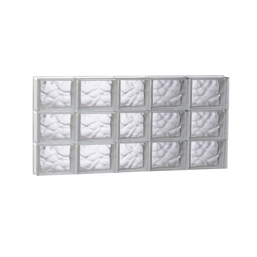 REDI2SET Wavy Glass Pattern Frameless Replacement Glass Block Window (Rough Opening: 37.2500-in x 17.7500-in; Actual: 36.7500-in x 17.2500-in)