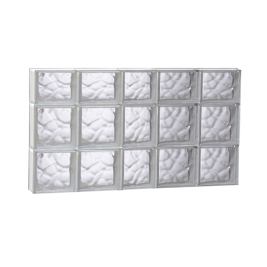 REDI2SET Wavy Pattern Frameless Replacement Glass Block Window (Rough Opening: 37.25-in x 21.75-in; Actual: 36.75-in x 21.25-in)
