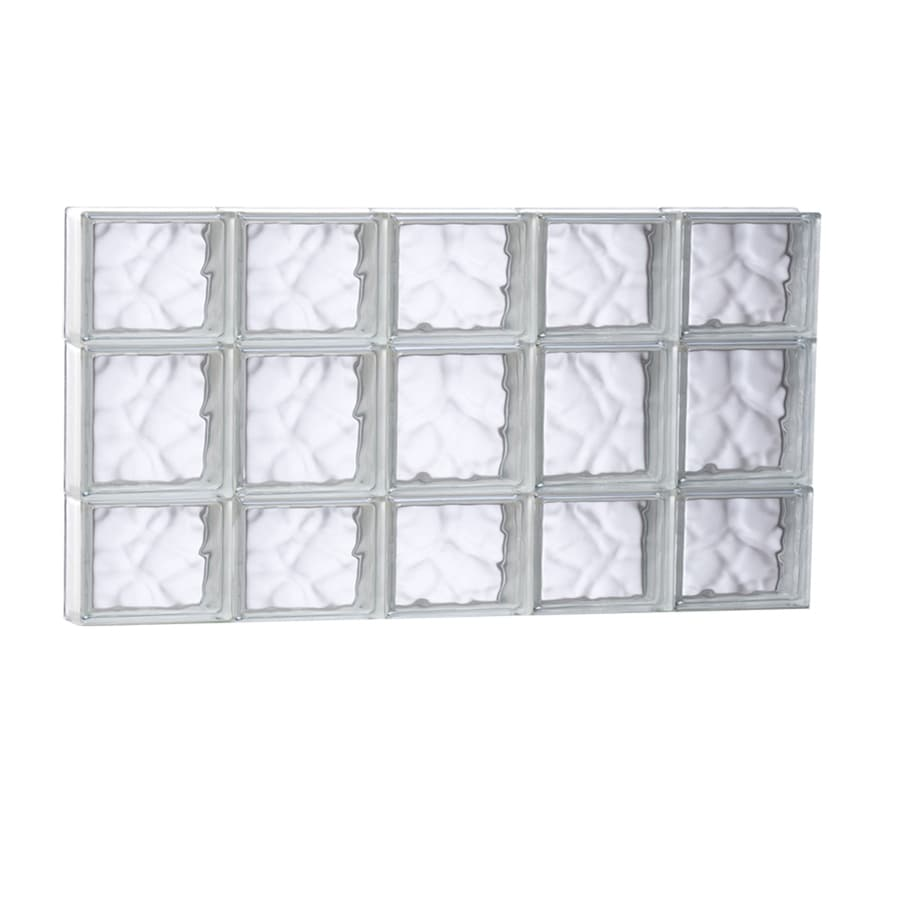 REDI2SET Wavy Glass Pattern Frameless Replacement Glass Block Window (Rough Opening: 39.25-in x 19.75-in; Actual: 38.75-in x 19.25-in)