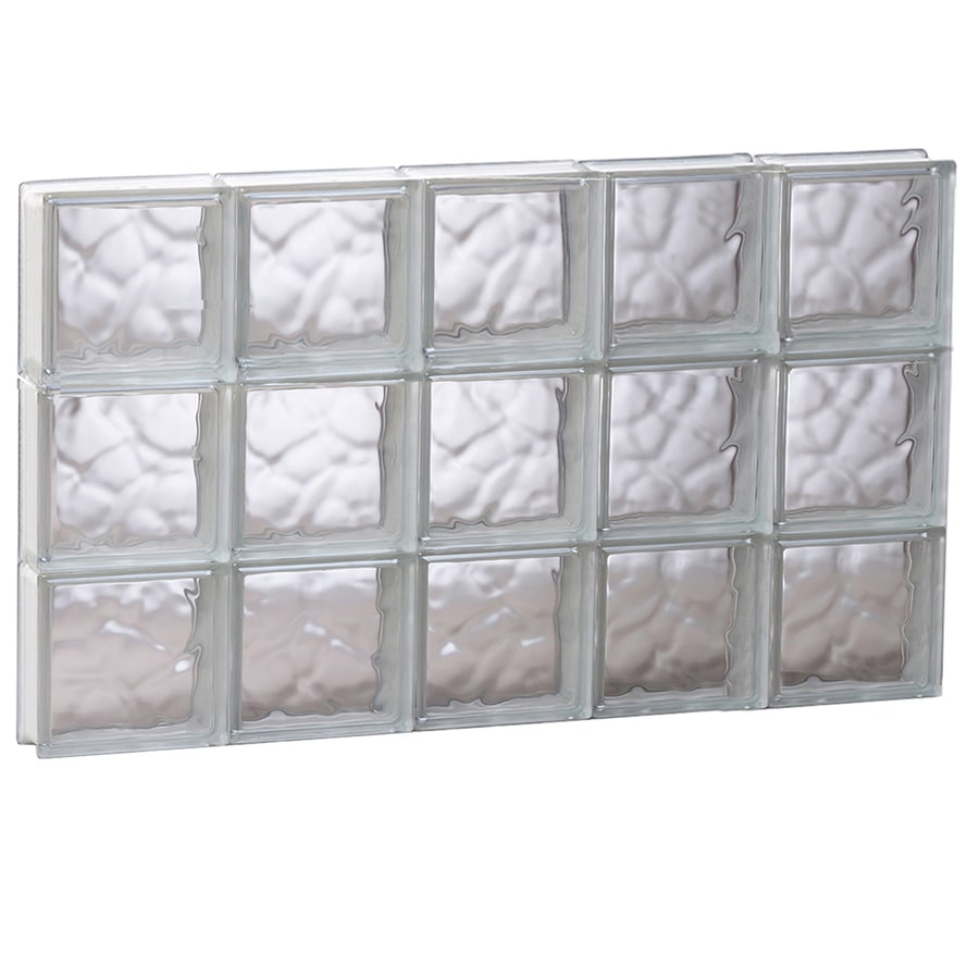 REDI2SET Wavy Glass Pattern Frameless Replacement Glass Block Window (Rough Opening: 39.25-in x 23.75-in; Actual: 38.75-in x 23.25-in)