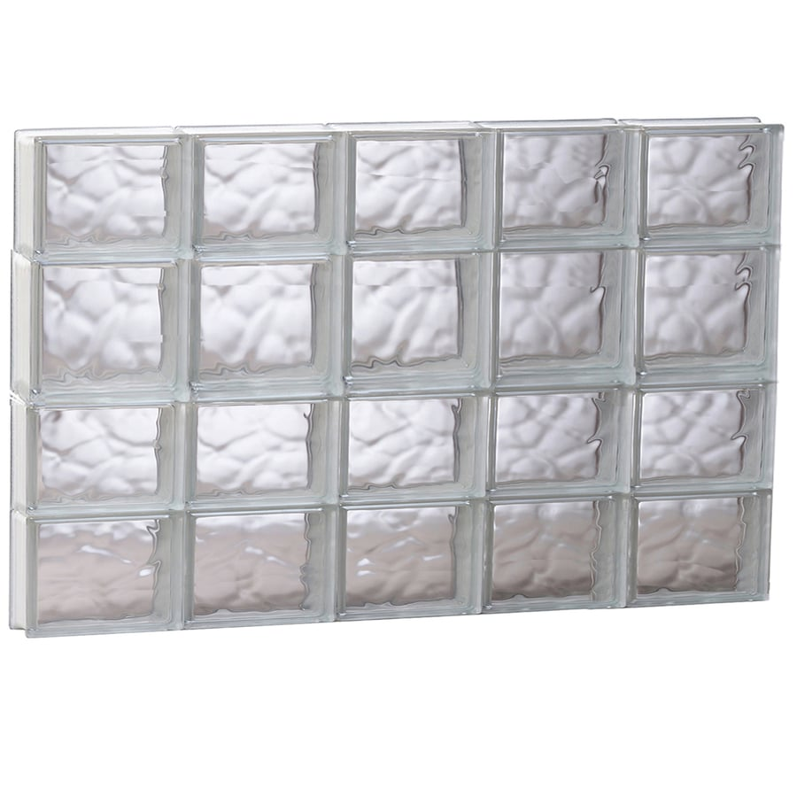 REDI2SET Wavy Glass Pattern Frameless Replacement Glass Block Window (Rough Opening: 39.25-in x 25.5-in; Actual: 38.75-in x 25-in)