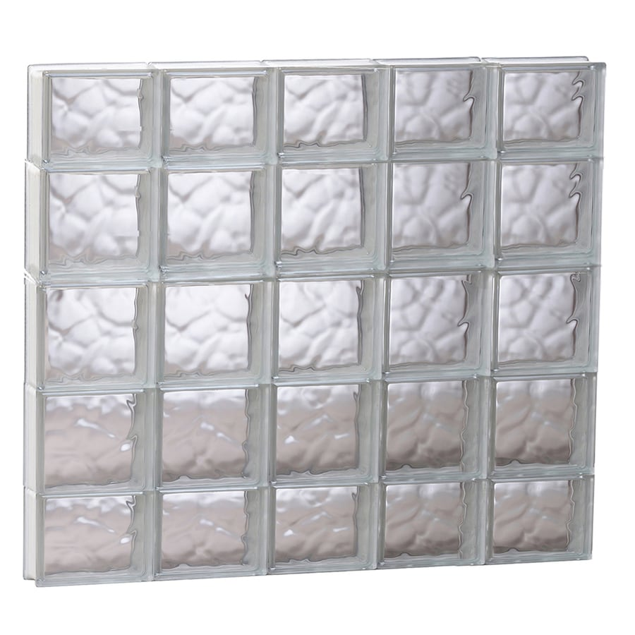 REDI2SET Wavy Glass Pattern Frameless Replacement Glass Block Window (Rough Opening: 39.25-in x 35.25-in; Actual: 38.75-in x 34.75-in)