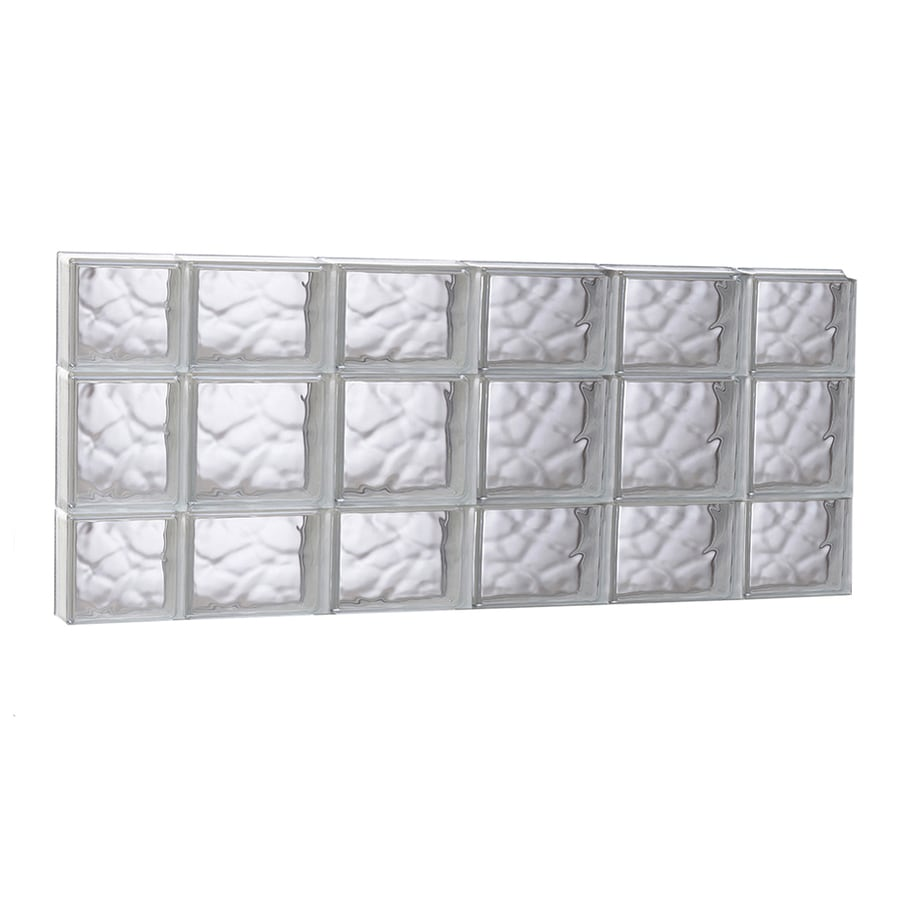 REDI2SET Wavy Glass Pattern Frameless Replacement Glass Block Window (Rough Opening: 43-in x 19.75-in; Actual: 42.5-in x 19.25-in)