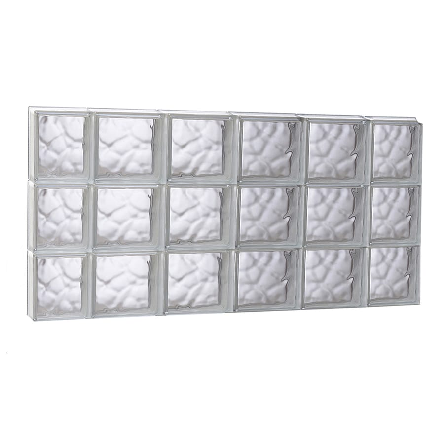 REDI2SET Wavy Glass Pattern Frameless Replacement Glass Block Window (Rough Opening: 43-in x 23.75-in; Actual: 42.5-in x 23.25-in)