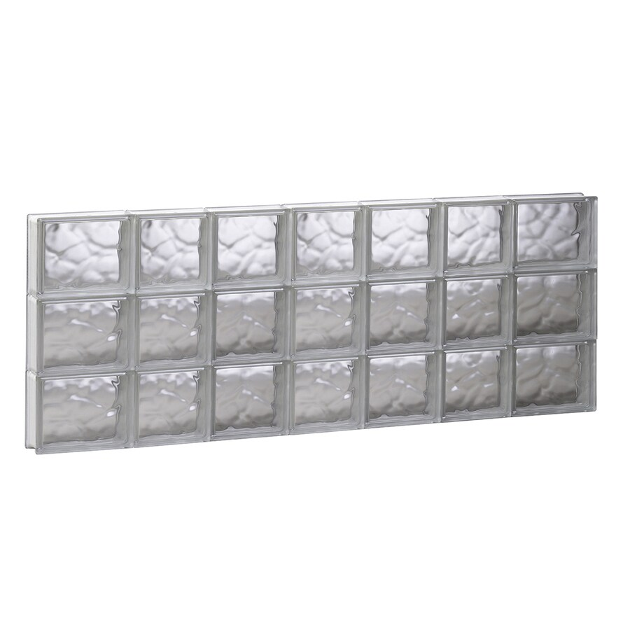 REDI2SET Wavy Glass Pattern Frameless Replacement Glass Block Window (Rough Opening: 44.75-in x 17.75-in; Actual: 44.25-in x 17.25-in)