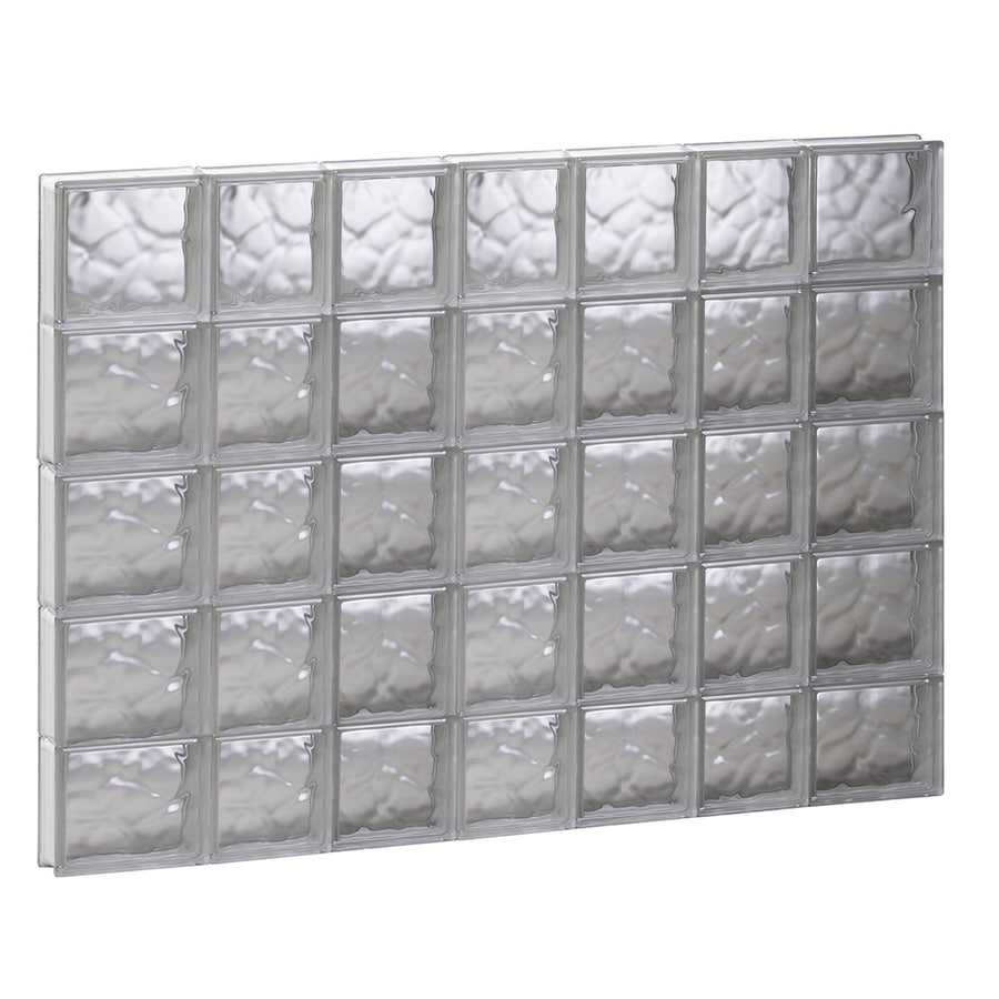 REDI2SET Wavy Glass Pattern Frameless Replacement Glass Block Window (Rough Opening: 44.7500-in x 37.2500-in; Actual: 44.2500-in x 36.7500-in)