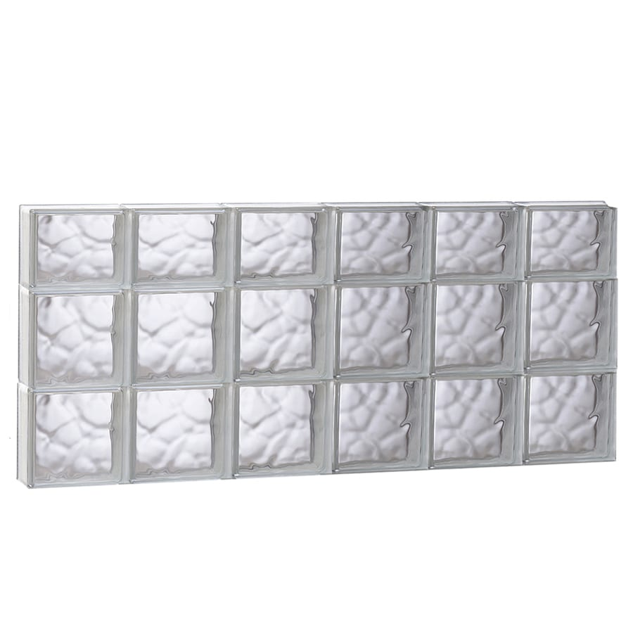 REDI2SET Wavy Pattern Frameless Replacement Glass Block Window (Rough Opening: 48-in x 22-in; Actual: 46.5-in x 21.25-in)