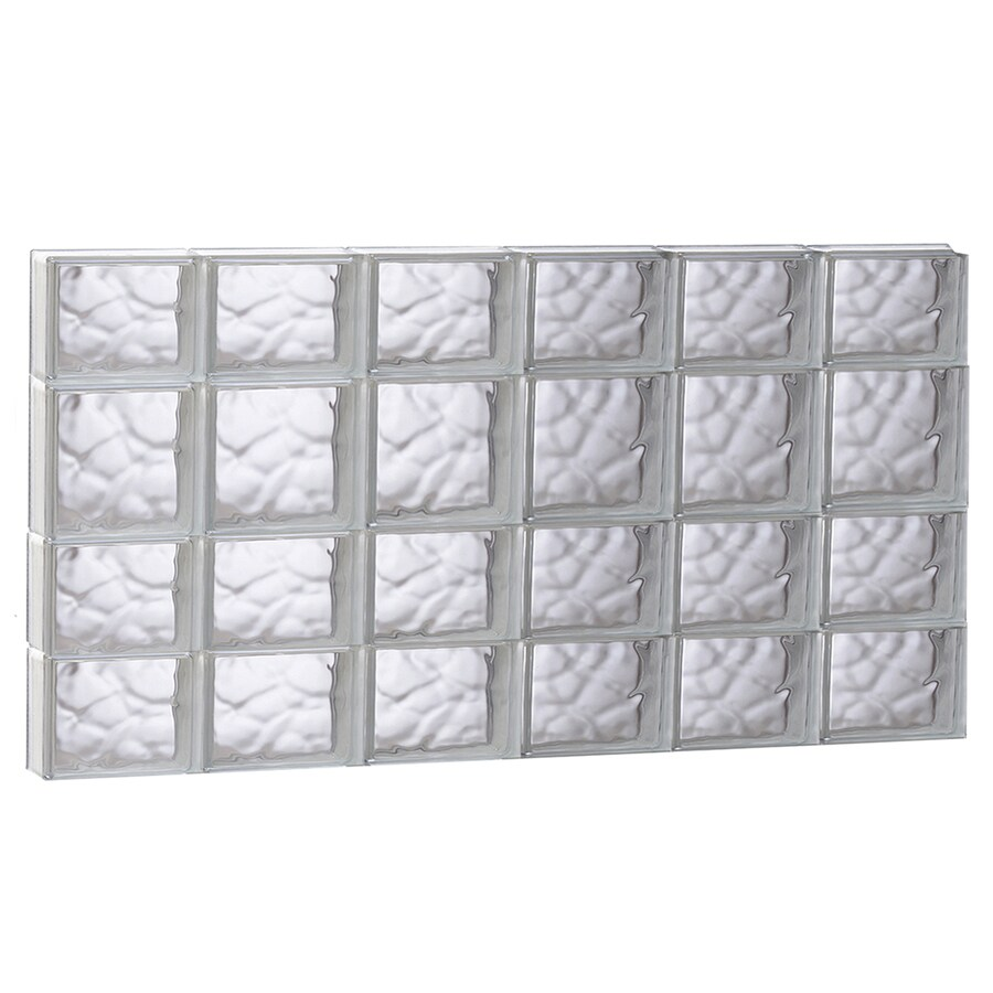 REDI2SET Wavy Glass Pattern Frameless Replacement Glass Block Window (Rough Opening: 48-in x 26-in; Actual: 46.5-in x 25-in)