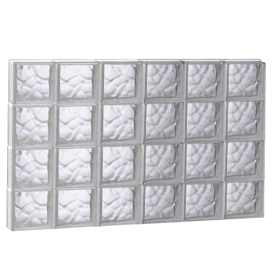REDI2SET Wavy Glass Pattern Frameless Replacement Glass Block Window (Rough Opening: 48-in x 32-in; Actual: 46.5-in x 31-in)