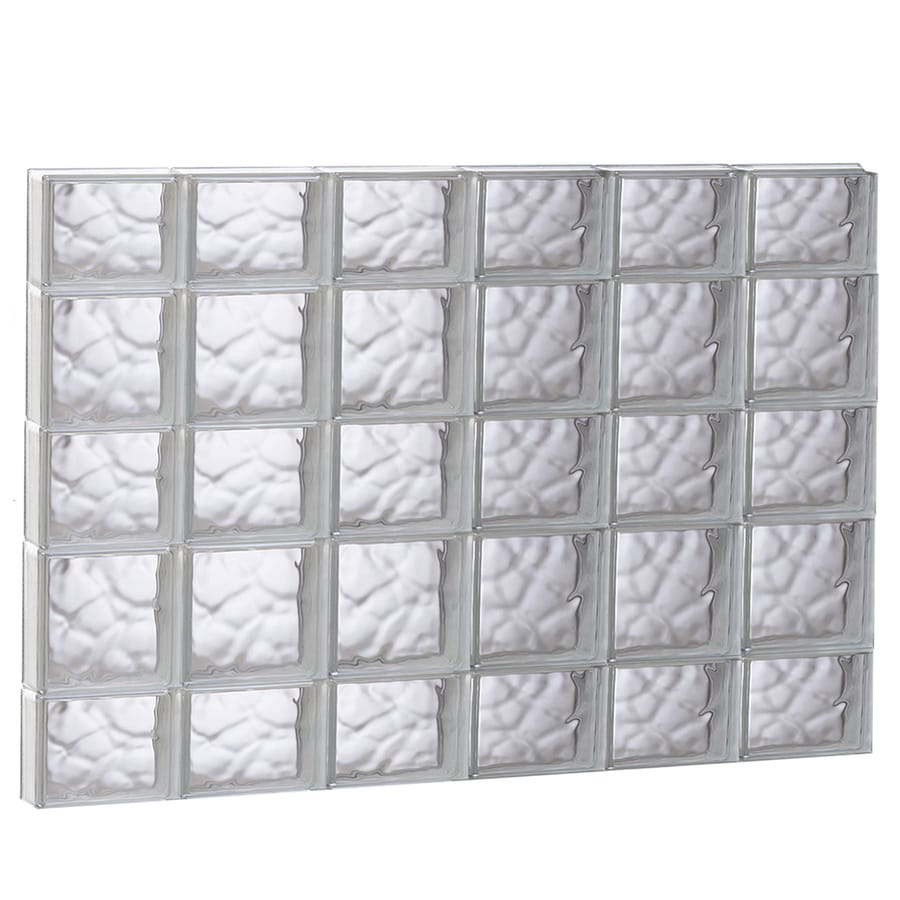 REDI2SET Wavy Glass Pattern Frameless Replacement Glass Block Window (Rough Opening: 48-in x 34-in; Actual: 46.5-in x 32.75-in)