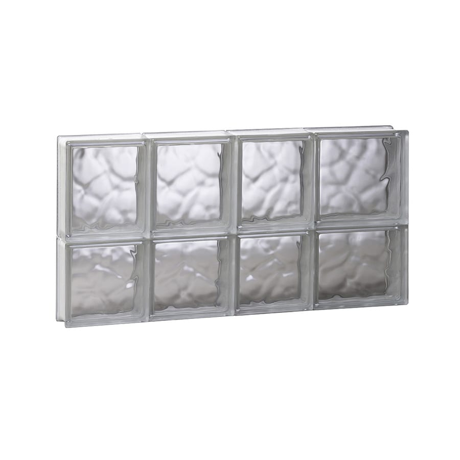 REDI2SET Wavy Glass Pattern Frameless Replacement Glass Block Window (Rough Opening: 26-in x 14-in; Actual: 25-in x 13.5-in)