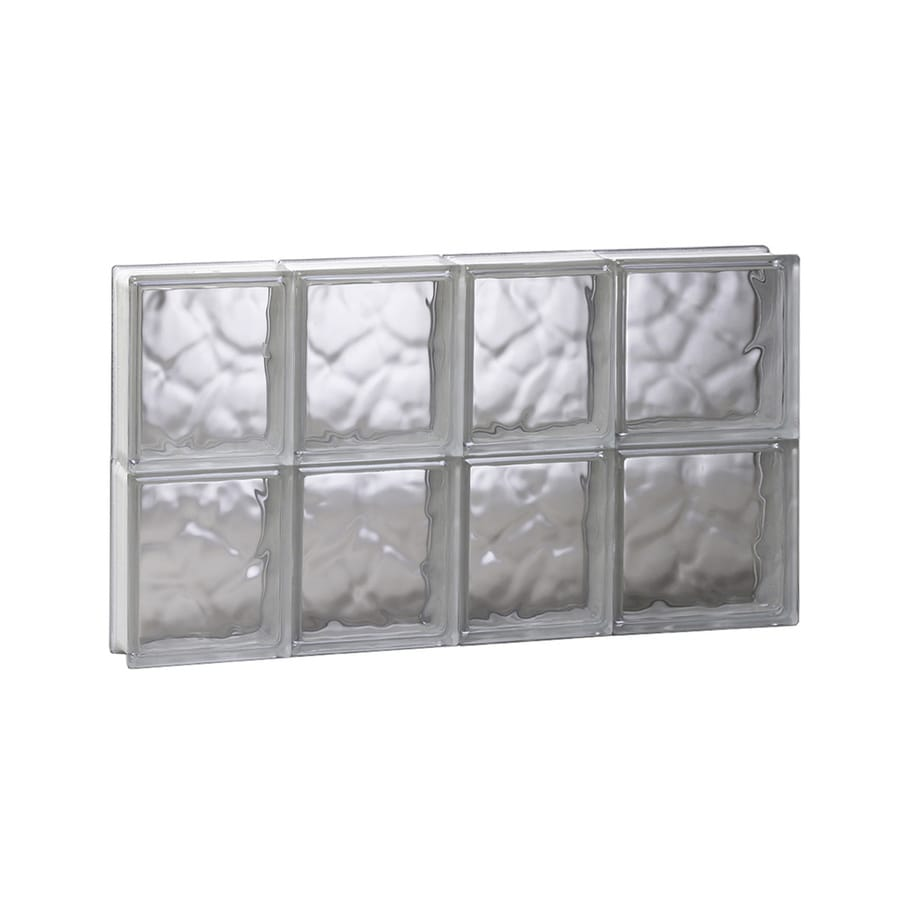 REDI2SET Wavy Glass Pattern Frameless Replacement Glass Block Window (Rough Opening: 26-in x 16-in; Actual: 25-in x 15.5-in)