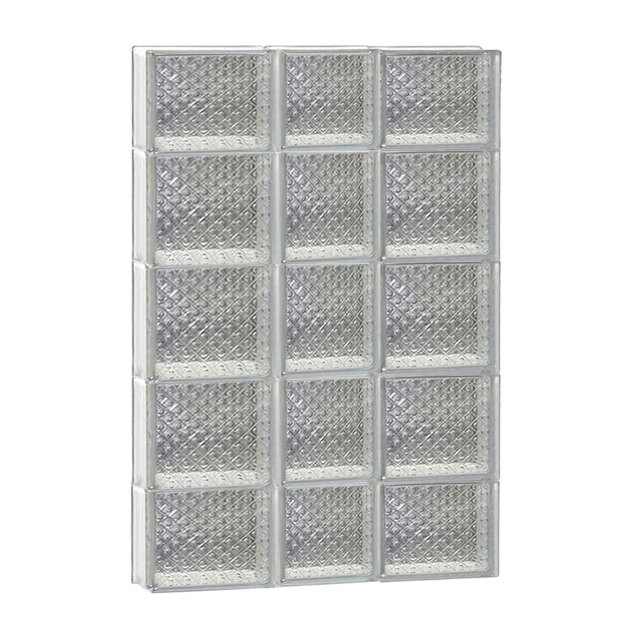REDI2SET Diamond Glass Pattern Frameless Replacement Glass Block Window (Rough Opening: 22-in x 36-in; Actual: 21.25-in x 34.75-in)