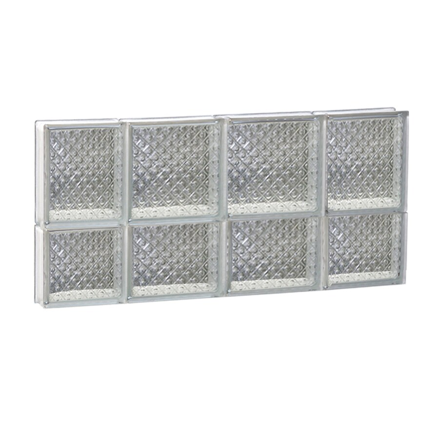 REDI2SET Diamond Glass Pattern Frameless Replacement Glass Block Window (Rough Opening: 28-in x 14-in; Actual: 27-in x 13.5-in)
