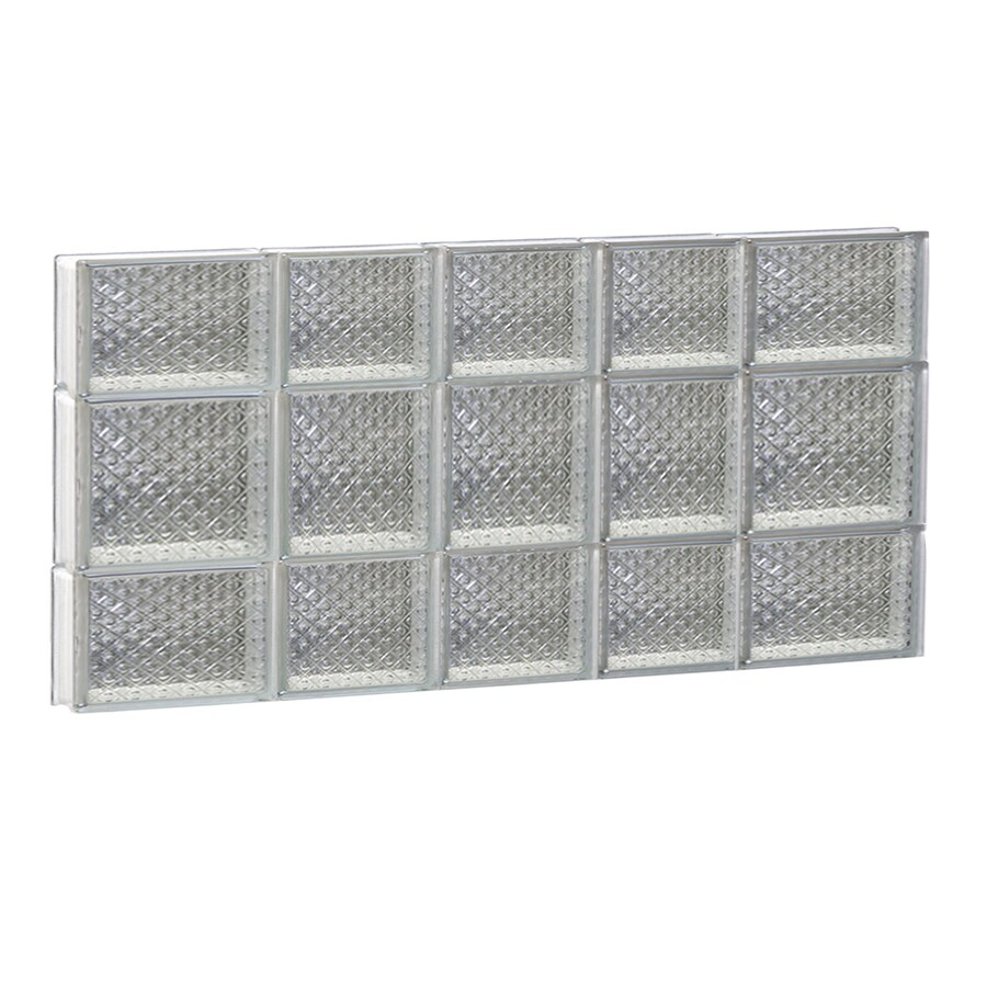 REDI2SET Diamond Glass Pattern Frameless Replacement Glass Block Window (Rough Opening: 34-in x 20-in; Actual: 32.75-in x 19.25-in)
