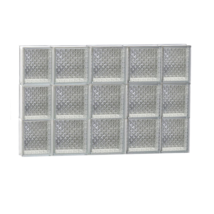 REDI2SET Diamond Glass Pattern Frameless Replacement Glass Block Window (Rough Opening: 36-in x 24-in; Actual: 34.75-in x 23.25-in)
