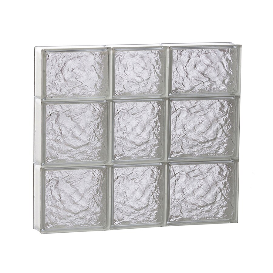 REDI2SET Ice Glass Pattern Frameless Replacement Glass Block Window (Rough Opening: 22-in x 22-in; Actual: 21.25-in x 21.25-in)